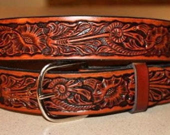 Handcrafted Leather Belt with Western Morning Glory detail (Solid Leather and no stitching) Made in the USA