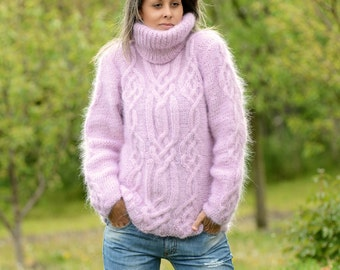 Hand Knit Mohair Sweater Cable Pink Fuzzy Turtleneck Jumper Pullover Jersey by EXTRAVAGANTZA * MADE to ORDER *