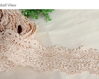 "1yds Broderie Anglaise Vintage Venice lace trim 2""(5cm) Cream/Ivory YH weave laceking2013"
