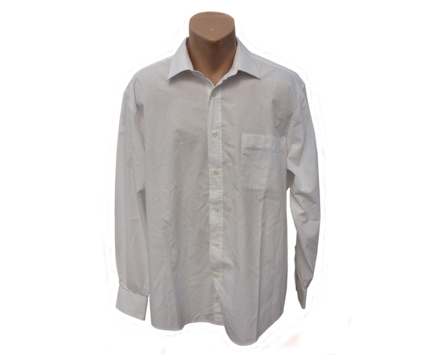 Vintage Yves Saint Laurent Pour Homme Casual Men Shirt White