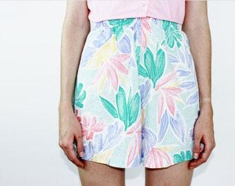 vtg 80s shorts high waisted tropical shorts high rise shorts pastel shorts pastel print retro shorts small sm s