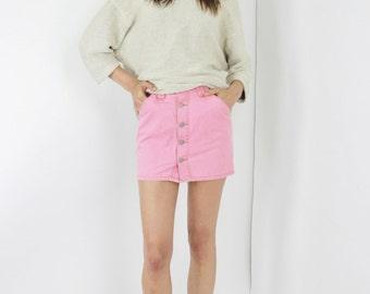 vtg 90s ESPRIT button through skirt pink mini skirt jean mini skirt denim skirt extra small xs