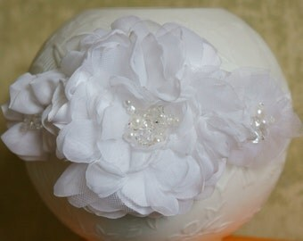 Flowers Headband Christening Headband Baby Headband White baby Headband Newborn Headband Infant headband Toddler Headband