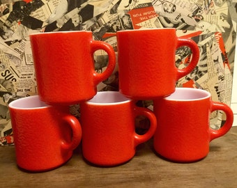 Red Frosted Milk Glass Mug Set