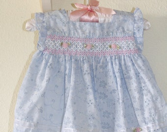 Vintage baby dress. blue eyelet dress WITH BLOOMERS , Little Bitty for 6-9 Mo