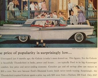 Vintage Advertisement for 1959 Ford Automobiles, great graphics from a June 1959 Life Magazine. Check out our coupon code.