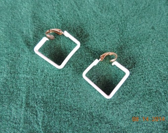 Vintage L.H.Segal Small White Square clip on Earrings