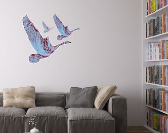 Calligraphy Geese Vinyl Wall Art