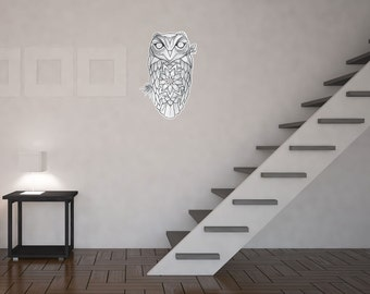 Mandala Owl Vinyl Wall Art Sticker by Kitty Foster
