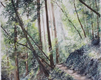 Original Watercolor Painting, giclee print. Two Trails, Mount Hermon II.