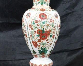 Flower vase marble inlay pietra dura antique art / stone inlaid flowers pot