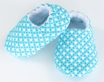 Baby Shoes Girl- baby girl shoes infant girl shoes new baby shoes baby booties girl baby slippers Ready to Ship, Aqua DimDots