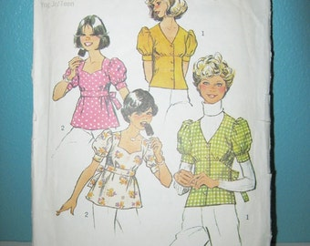 1970's Simplicity Pattern #6401, Young Junior/Teen Size 11/12, Copyright 1974