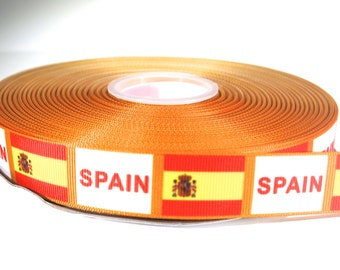 "5 yards of 7/8 inch ""Spain"" grosgrain ribbon"