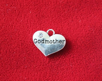 "5pc ""Godmother"" charms in antique silver style (BC701)"