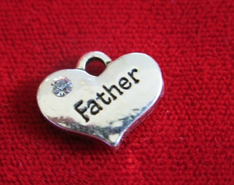 """5pc """"Father"""" charms in antique silver style (BC727)"""