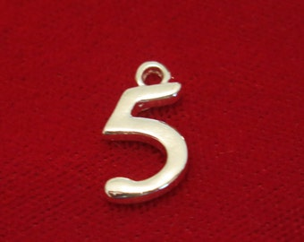 "BULK! 30pc ""5"" charms in silver style (BC736B)"