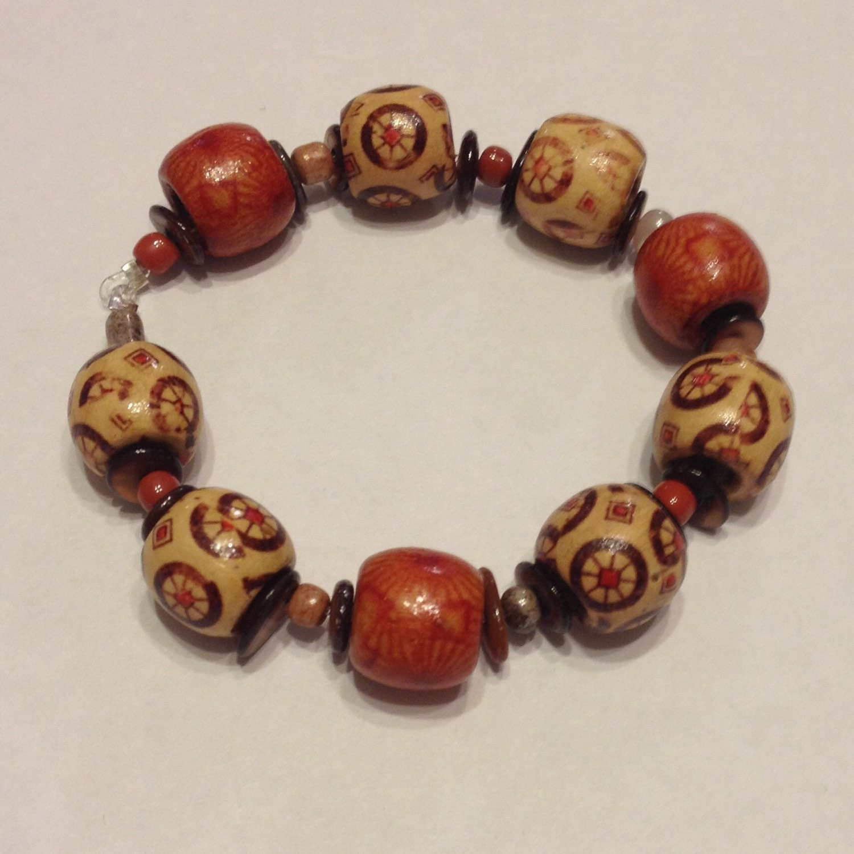 wooden bead stretch cord bracelet