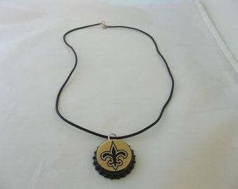 New Orleans Saints Bottle Cap Necklace