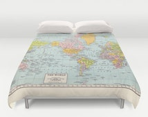World Map Duvet Cover - bed - bedroom, travel decor, cozy soft, pastel, winter, warm, wanderlust