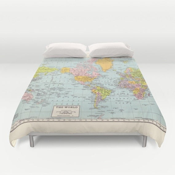 World Map Duvet Cover - comforter,  bed - bedroom, travel decor, cozy soft, pastel, winter, warm, wanderlust, atlas, geography, cartography