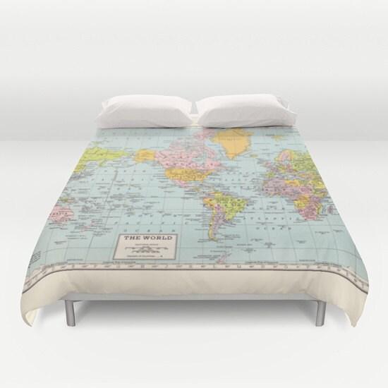 World Map Duvet Cover comforter bed bedroom travel