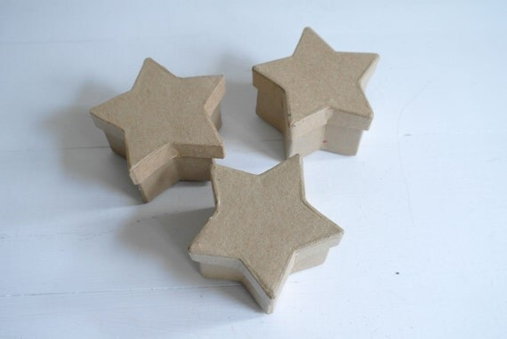 3 Star Shaped Paper Mache Boxes