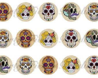 DOWNLOAD INSTANTLY - Sugar Skull Bottle Cap Images