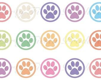 DOWNLOAD INSTANTLY - Animal Paw Prints Bottle Cap Images Multi Color Pendants Bows