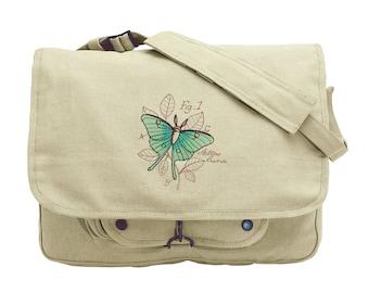 Miniature Menagerie Luna Moth Diagram Embroidered Canvas Messenger Bag