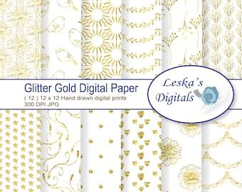 "Glitter Gold Digital Paper: ""GLITTER GOLD"" scrapbook paper pack, gold glitter texture, glitter sparkle digital papers, instant download"