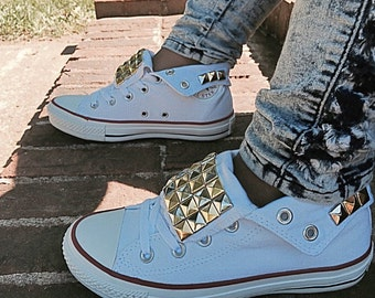 Studded Converse Chuck Taylor All Stars Shoes Gold and Silver Studs