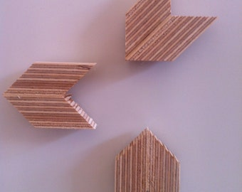 Plywood Arrow Magnets - Set of 3