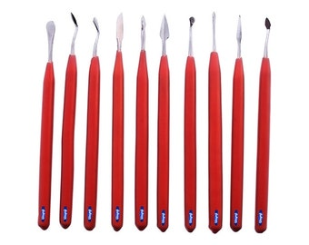 Wax Carving Set 10 Pcs W/ Vinil Grips In Pouch Jewelry Sculting Metal Clay Tool  Wa 352-122