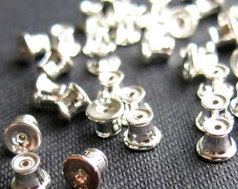 Ear Nuts, Back Stoppers with silicone pad, 925 Sterling Silver