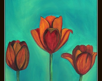 Giclee PRINT 8x10 Tulips Painting Flowers Red Orange Landscape Gardening Spring Acrylic Nature Contemporary Ready Wall Art to Hang