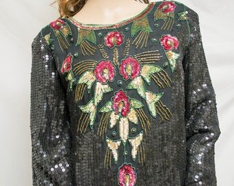Joseph Le Bon,beaded top,1980s, 80s, Beaded ,Sequin, Women's, Medium, Blouse,Free shipping in the US