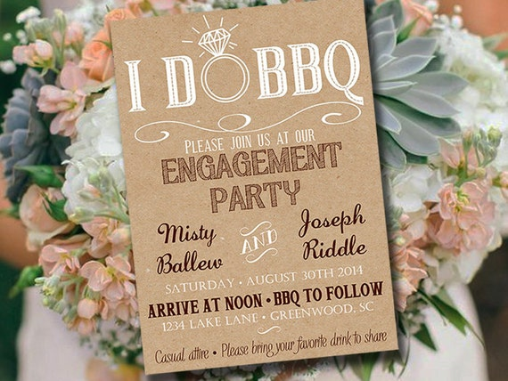 I DO BBQ Engagement Party Invitation Template - Kraft Wedding Shower Template - Rustic Wedding Invitation - Kraft Bridal Shower Download