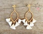 Aphrodite / Boho Gold Plated Brass Earrings / White Iridescent Shells / Bridal Earrings / Bridesmaids Earrings Gift / Handmade Earrings