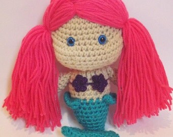 Stuffed amigurumi mermaid plush toy