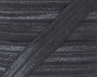 Charcoal Fold Over Elastic - Elastic For Baby Headbands and Hair Ties - 10 Yards of 5/8 inch FOE