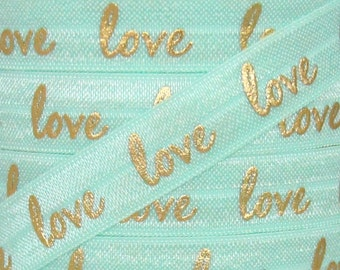 "Aqua and Gold Metallic ""love"" Print Fold Over Elastic - Elastic for Headbands and Hair Ties - 5 Yards 5/8 inch Printed FOE"