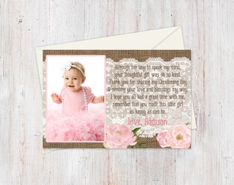 although too tiny poem card, baptism thank you card with photo, PRINTABLE, Christening photo card, birthday thank you card, tarjeta