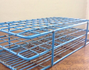 vintage 1960s laboratory metal test tube rack in original blue paint