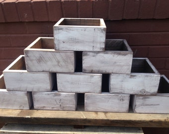 Rustic Wedding Centepiece Flower Boxes Set of Ten,Table Centerpiece Wood Flower Boxes finished in Distressed White