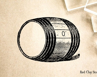 Large Barrel Rubber Stamp - 2 x 2 inches