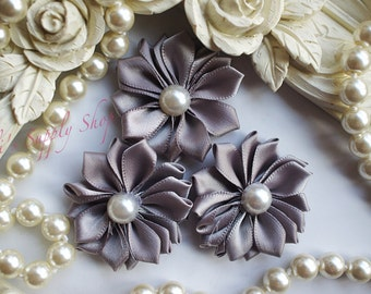 "3 Gray 1.5"" Satin Flowers w/ Pearl Center - Petite Satin flower - Satin Ribbon Flower - Fabric Flower - wholesale flowers"