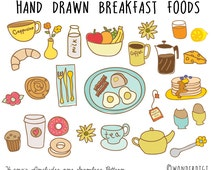 Hand Drawn Clipart Doodles Clip art - Breakfast Clipart - Food Clipart - Food Illustration
