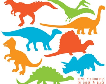 Dinosaur Clipart - Dinosaurs Silhouette Clip art - Dino Clipart - Silhouette