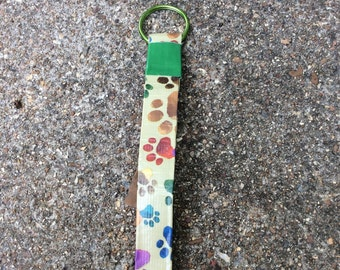 Puppy Paws Ducttape Wristlet Keychain